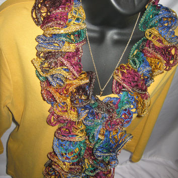 "Scarf - Boho Boa 63"" Multi Color, Gold Metallic Edge"
