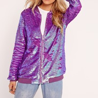 Missguided - Sequin Bomber Jacket Purple