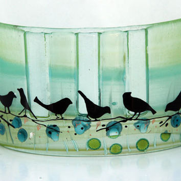 Fused glass Curved vase dwvided to three vases, Summer collection