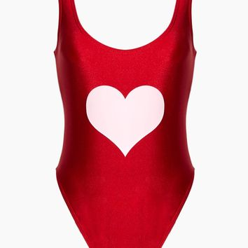 Heart One Piece Swimsuit - Red/Pink