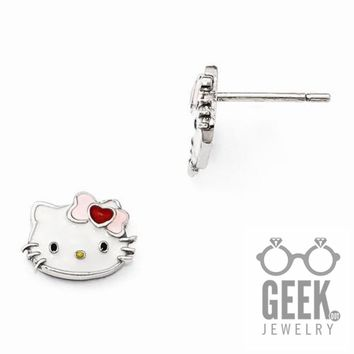 Hello Kitty Sterling Silver Enamel Face Post Earrings