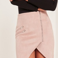 Missguided - Pink Faux Suede Zip Detail Asymmetric Skirt