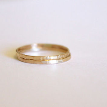 2 Skinny Rings - 14k Gold Fill or Sterling Silver - Stacking Ring - Textured Ring - Hand Forged - Hammered Ring - Simple Gold Ring Set -Thin