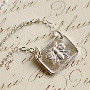 Victorian Bee Wax Seal Necklace - Fine Silver and Sterling Silver