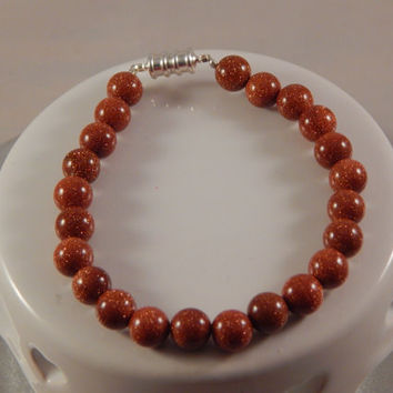 Red Sandstone Beaded Bracelet - Natural stone, handmade jewelry - Semi-Precious Gemstone  -Gemini Zodiac Gifts - Unisex, Man / Woman