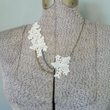 Floral Ivory Lace Necklace, Beaded Lace Necklace, Asymmetrical Necklace