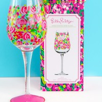 Lilly Pulitzer Hand Painted Wine Glass-Wild Confetti