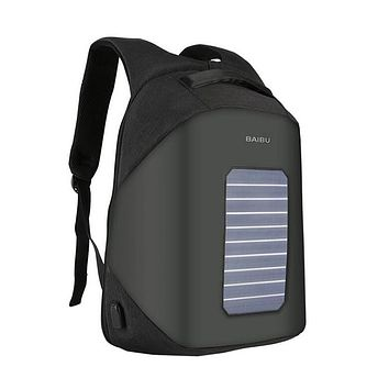 10W Solar Powered Backpack with USB Charging Port, 15.6'' Laptop Pocket Waterproof Bag