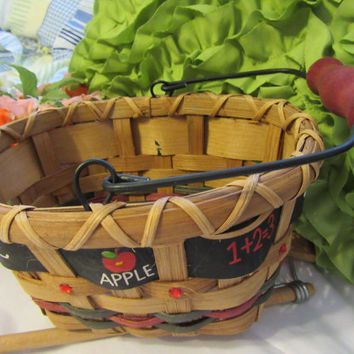 Oval Teacher Basket With Bling and ABC Apple 1 + 2 = 3 Ribbon Accents