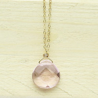 Blush Pink Teardrop Necklace