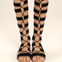 Hasna Black Suede Tall Gladiator Sandals