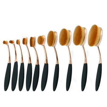 10pc Rose Gold Make Up Brushes Tooth-Shape Foundation Powder Brush Oval Makeup