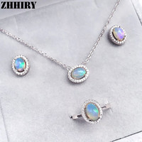 ZHHIRY Natural Fire Opal Women Jewelry Sets 925 Sterling Silver Ring Necklace Pendant Earrings Color Gemstone