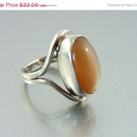 CLEARANCE SALE, Vintage Mid Century Sterling Silver Butterscotch Carnelian Ring. Size 6.5