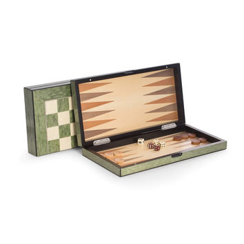 """Lacquer Finished 15.5"""" Green Inlaid Wood Backgammon & Chess Set"""
