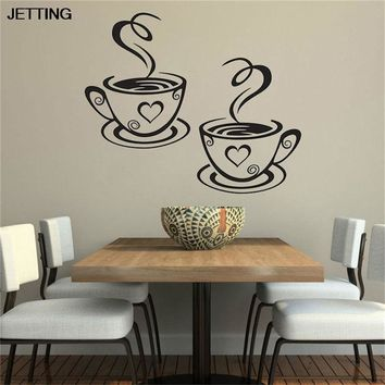 JETTING Double Coffee Cups Wall Stickers Room Decoration Vinyl Art Wall Decals Kitchen Home Decoration Accessories