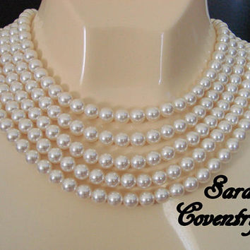 Vintage Sarah Coventry Flapper Length Faux Pearl Necklace / 90 Inches / Designer Signed / Wedding Bridal / Jewelry / Jewellery