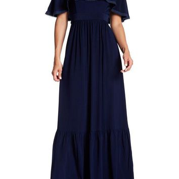 Eliza J | Off-the-Shoulder Ruffle Trim Maxi Dress | Nordstrom Rack