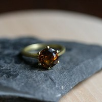 Gold Smokey Quartz Gemstone Ring