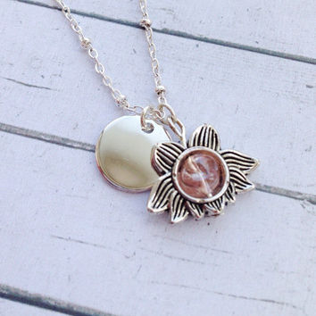Personalized Lotus Necklace. Personalized Yoga Jewelry. Silver Lotus Charm Necklace