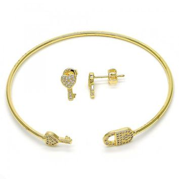 Gold Layered 13.199.0001 Set Bangle, key and Lock Design, with White Micro Pave, Polished Finish, Golden Tone (02 MM Thickness, One size fits all)