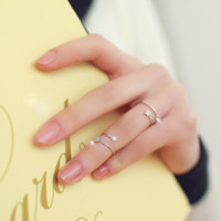 Free Shipping Simple Fashion Sterling Silver Double Stars Open Ring