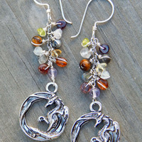 Dragon earrings - artisan earrings - fantasy jewelry - silver dragon - wire wrap earrings - unique dangly earrings - fantasy earrings