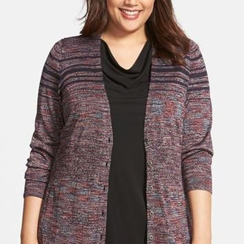Plus Size Women's NIC+ZOE 'Midnight Stripe' Silk Blend Cardigan,