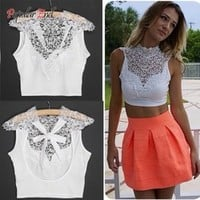 Hot Sale ! 2014 Women Sexy Tank Tops Summer Tops Backless Sleeveless Short Vest Hollow Out White Lace Crop Top b7 CB033600
