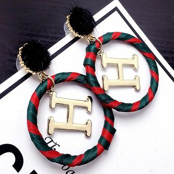 Trending Women Stylish Exaggerated H Letter Earrings Red Green Round Ring Earrings Jewelry Hermes I12319-1