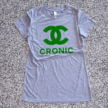 Cronic Womens Athletic Grey T Shirt - Graphic Tee - Clothing - Gift