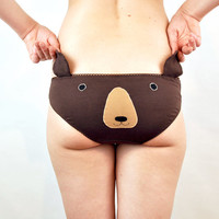 Knickers with brown bear face and ears. Lingerie underwear