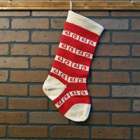 Traditional Striped Christmas Stocking, Hand Knit in Red and Off-White, Can Be Personalized, Housewarming Gift, Wedding Gift, Baby Gift