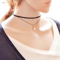 Forever21 choker Shiny Gift Jewelry New Arrival Korean Layered Undee Stylish Simple Design Pendant Lace Accessory Chain Necklace [7786550855]