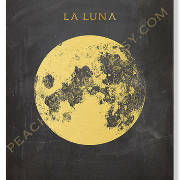 Printable Art, Gold Foil Print, Full Moon, Black And Gold Wall Decor, Digital Download, Night Sky, Galaxy, Space, Astronomy Print, Celestial