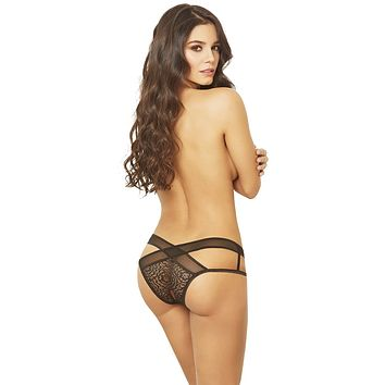 Sexy Vandal Lace and Mesh Open Crotch Criss-Cross Panty