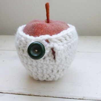 Apple cozy, crochet cozy, apple cozy white, crochet apple cozy, teacher's gift, teacher's swag, back to school, ready to ship, hand crochet