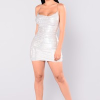 Lead The Way Sequin Dress - Silver