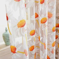 Best Price For Sunflower Tulle Voile Door Window Curtain Drape Panel Sheer Scarf Valances