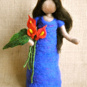 Waldorf inspired needle felted doll: Girl with red calla-lily  flowers