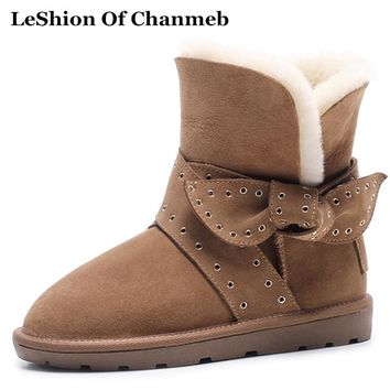 Fashion Cross Strap Australian Bailey Snow Boots Woman's Cold Weather Thick Faux Fur Warm Half Boots Women Mid-calf Boots Shoes