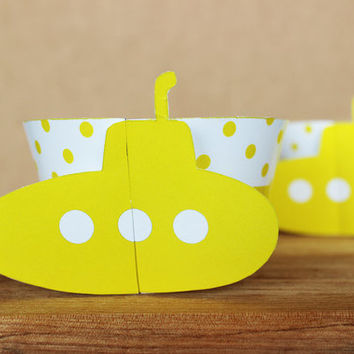 Printable 3D Bright Yellow Submarine Cupcake Wrapper Set with polka dot patterns  - INSTANT DOWNLOAD