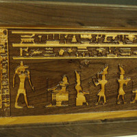 Egyptian Carving Hieroglyphics Walnut and Cherry Hardwood Wall Art Frame
