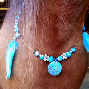 Denali Equine Necklace - Rhythm Beads for Horses - Turquoise, Gold, White Clay Bead Necklace for Horses