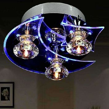 Moon Star Retro Dining Room Crystal Chandelier Ceiling LED Light Pendant Lights
