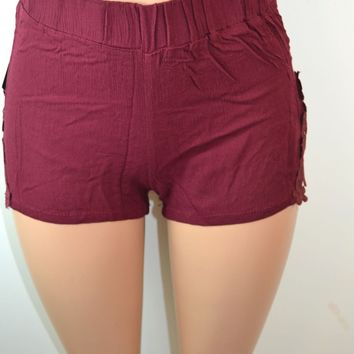Shosho Womens Crinkle Shorts With Lace Applique Side Panels