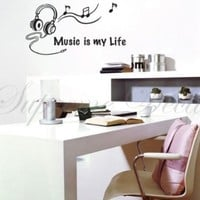 Custom PopDecals - Music is my life - Beautiful Tree Wall Decals for Kids Rooms Teen Girls Boys Wallpaper Murals Sticker Wall Stickers Nursery Decor Nursery Decals