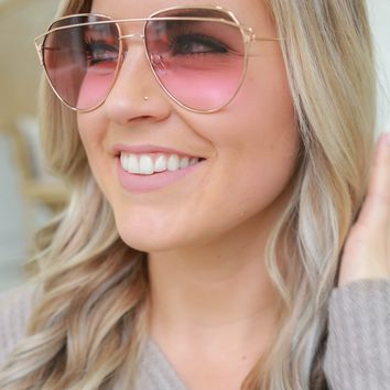 Feeling Fierce Sunglasses - Rose Gold