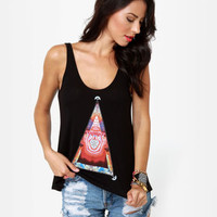 Obey Pyramid Stone Print Black Tank Top