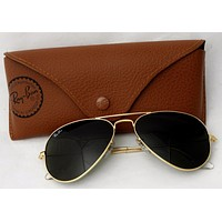 Cheap Ray-Ban Aviator Sunglasses RB3025 Gold Wire Frames Green Lenses w Case Italy outlet